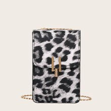 Bolso de movil con solapa de leopardo