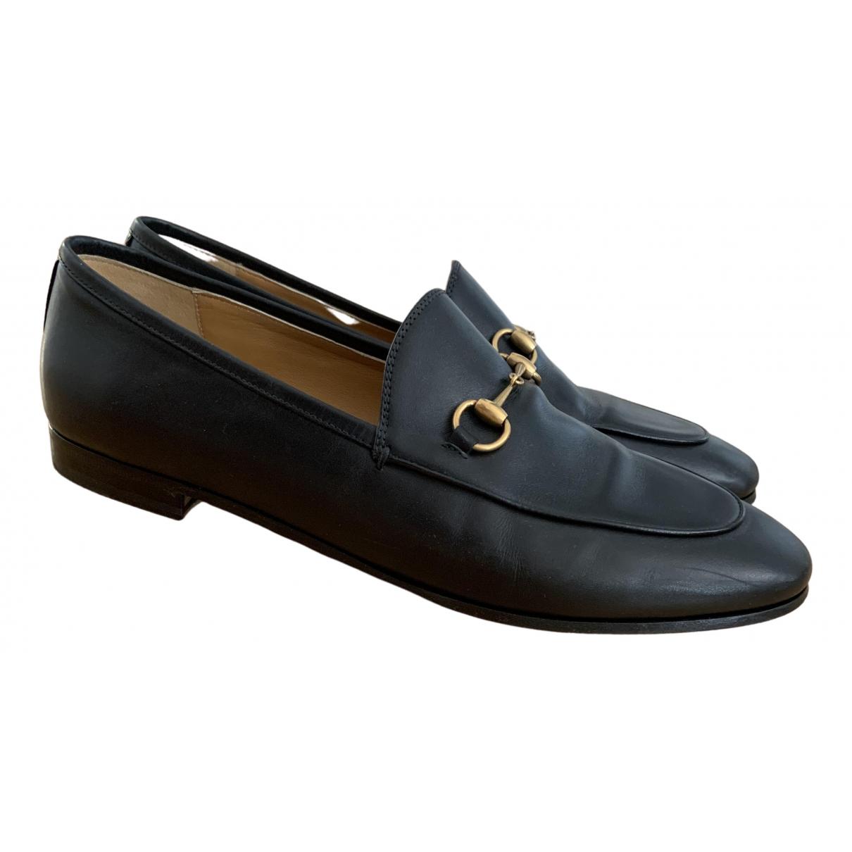 Gucci Jordaan Black Leather Flats for Women 41 IT