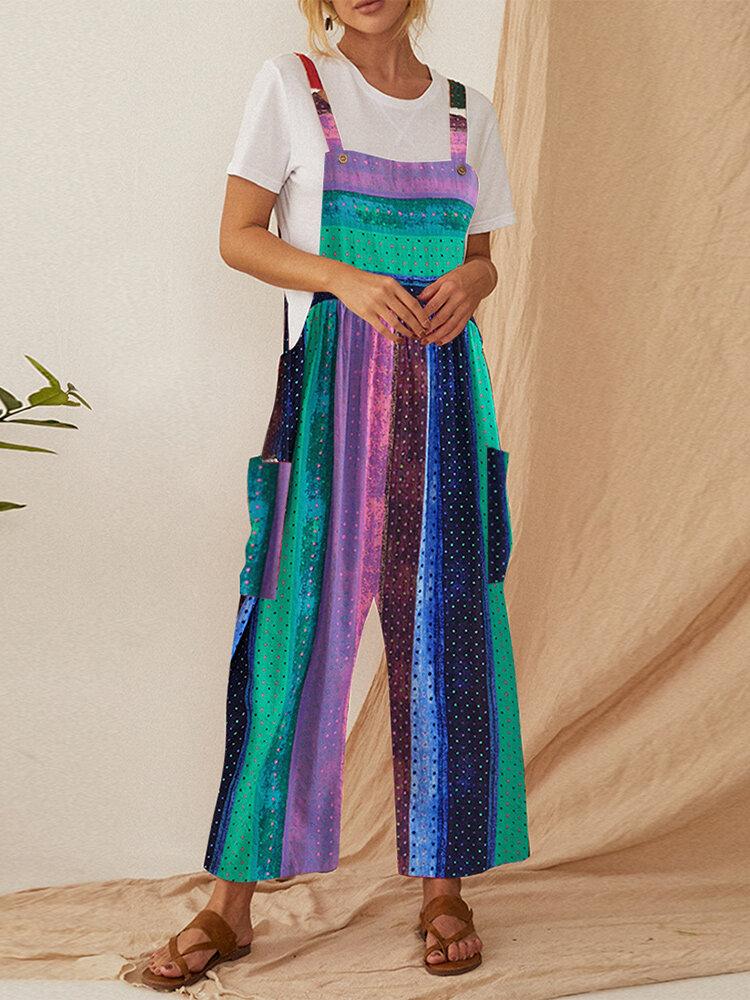 Polka Dot Striped Patchwork Straps Plus Size Jumpsuit