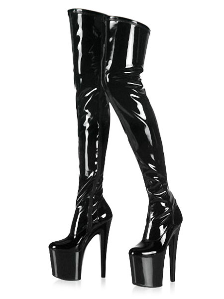 Milanoo Black Sexy Boots Women Platform Almond Stiletto Heel Thigh High Boots High Heel Over The Knee Boots