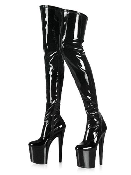 Milanoo Negro Sexy Botas de Mujer 2020 Plataforma Almendra Tacon de Aguja Botas Altas hasta Pierna  de Tacon Alto Botas Sobre la Rodilla