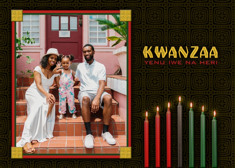 Kwanzaa Photo Cards 5x7 Folded Cards, Premium Cardstock 120lb, Card & Stationery -Kwanzaa Candles