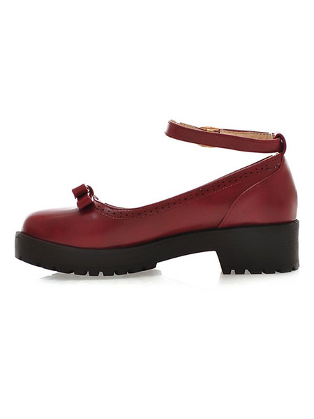 Milanoo Lolita Shoes Burgundy Bows Round Toe PU Leather Ankle Strap Lolita Pump Shoes
