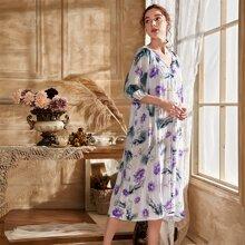 Floral Print Raglan Sleeve Night Dress