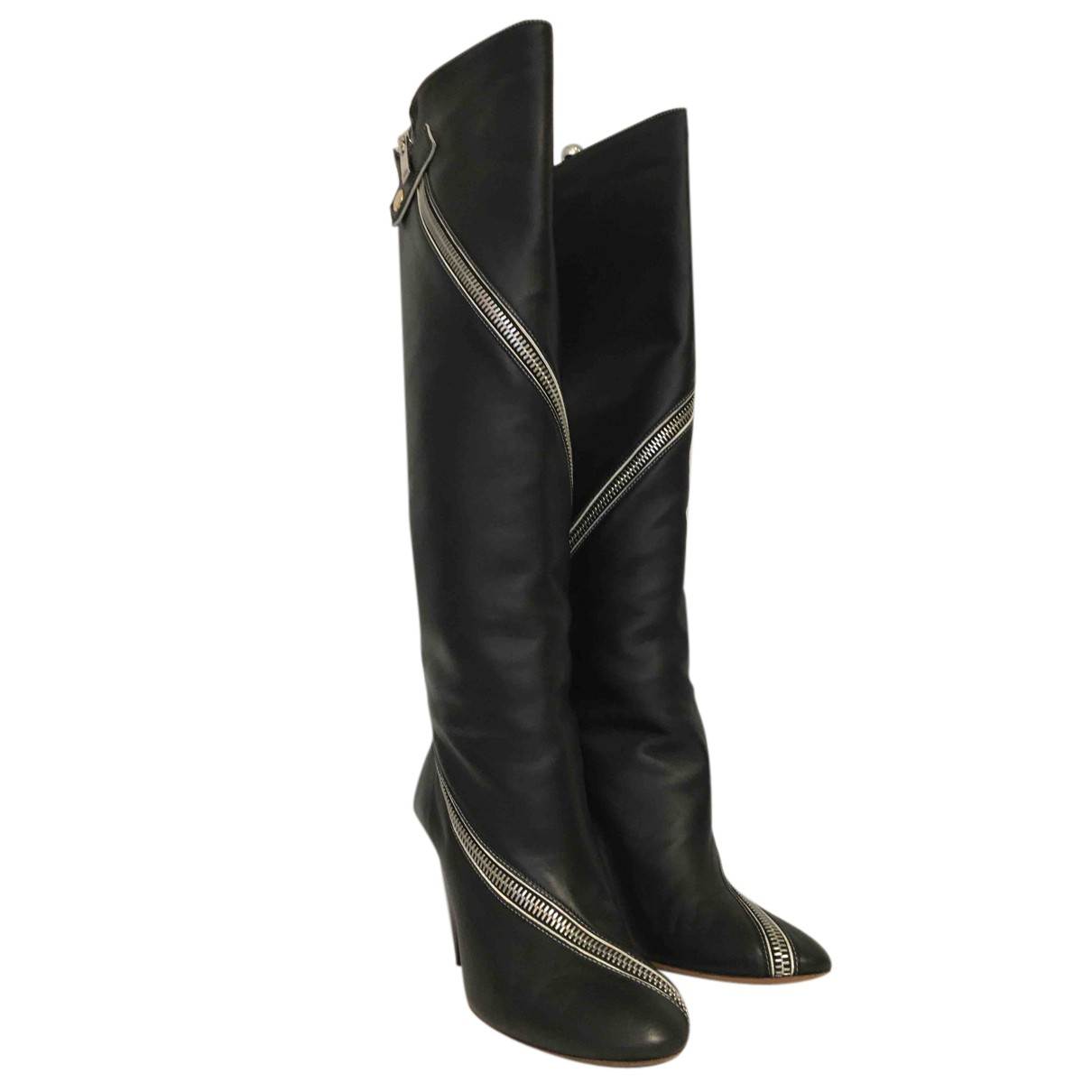 Celine N Black Leather Boots for Women 38.5 EU