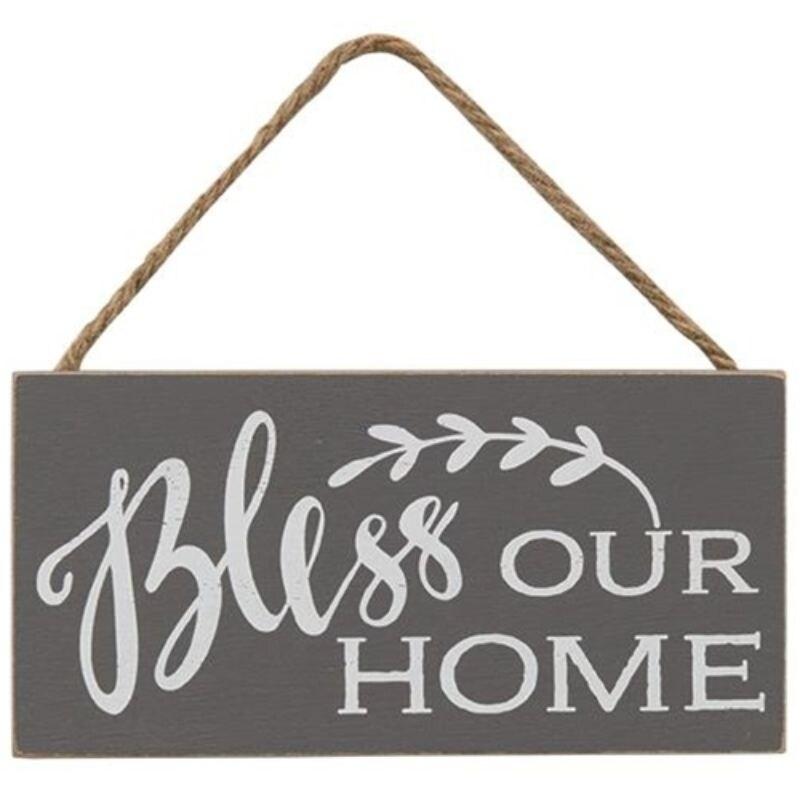 Bless Our Home Rope Hanger Sign - Black (Black)