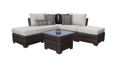 RIVER-06b-ASH Kathy Ireland Homes and Gardens River Brook 6-Piece Wicker Patio Set 06b - 2 Set of Truffle