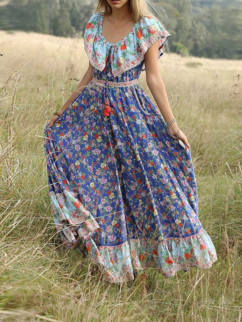 Ericdress Floor-Length Short Sleeve Lace-Up Travel Look Expansion Dress