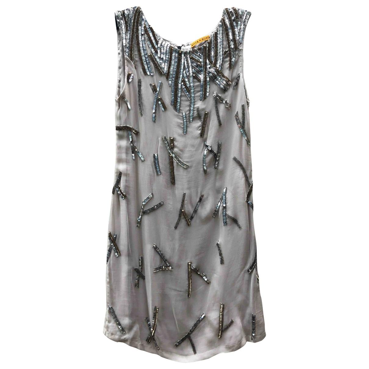 Alice & Olivia \N Grey Silk dress for Women 4 US