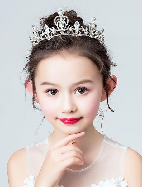 Milanoo Flower Girl Crown Tiara Rhinestone Silver Headpieces Kids Hair Accessories