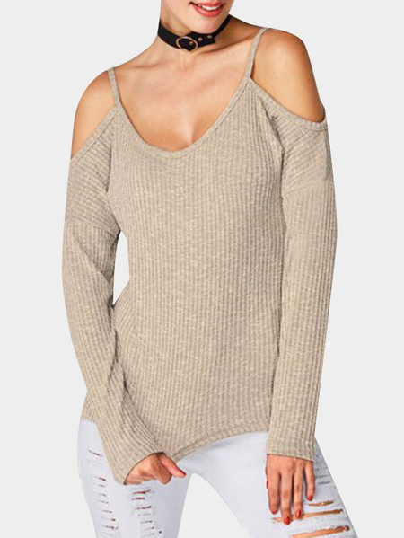 Yoins Khaki Spaghetti Cold Shoulder Long Sleeves T-shirt