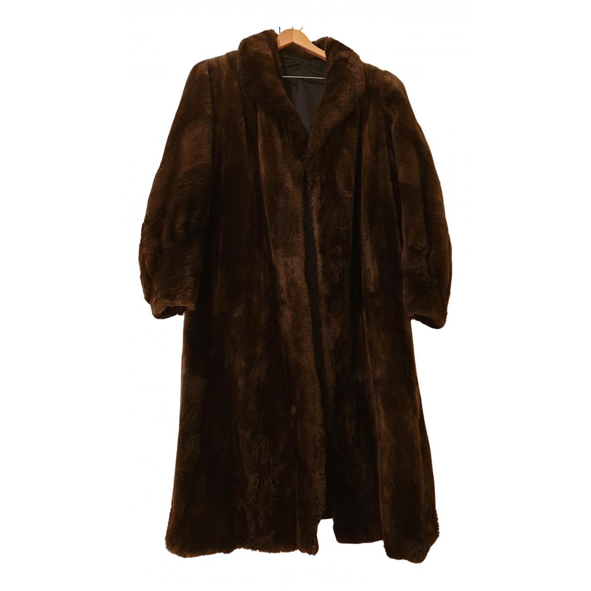 - Manteau   pour femme en fourrure synthetique - marron