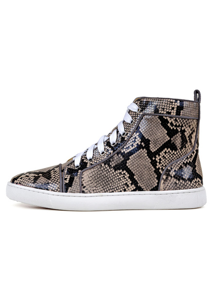 Milanoo Mens Sneakers Cowhide Round Toe Snake Print Lace Up High Top Skate Shoes