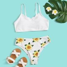 Girls Sunflower Scallop Trim Bikini Swimsuit