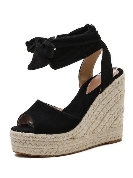 Milanoo Women Sandals Wedge Heel Chic Peep Toe Espadrilles Ankle Strap Wedge Sandals