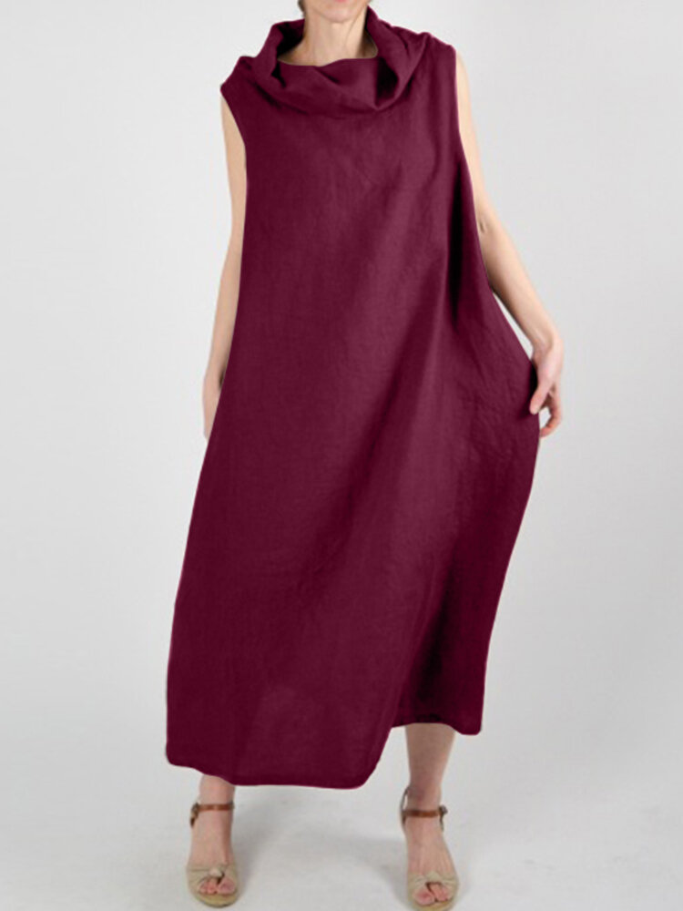 Solid Color Pile Collar Loose Sleeveless Casual Plus Size Dress