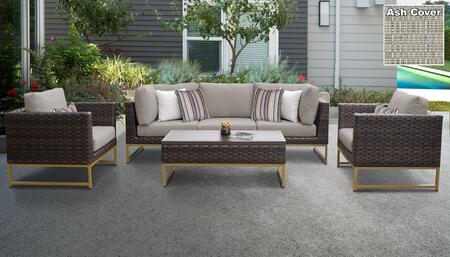Barcelona Collection BARCELONA-06r-GLD-ASH 6-Piece Patio Set 06r with 2 Corner Chair   1 Armless Chair   2 Club Chair   1 Coffee Table - Beige and