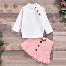 Toddler Girls Stand Collar Tee & Ruffle Hem Belted Skirt