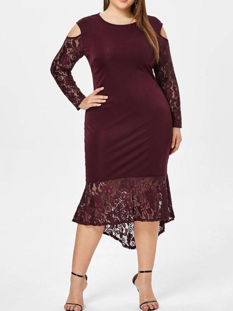 Ericdress Plus Size Long Sleeve Asymmetric Round Neck Spring Floral Dress