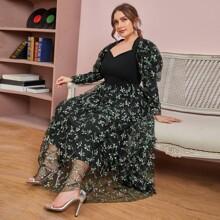 Vestido con bordado floral de manga gigot