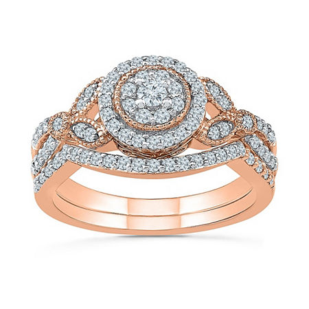Womens 1/2 CT. T.W. Genuine White Diamond 10K Rose Gold Bridal Set, 4 , No Color Family