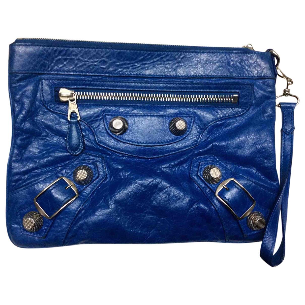 Balenciaga City Clutch in  Blau Leder