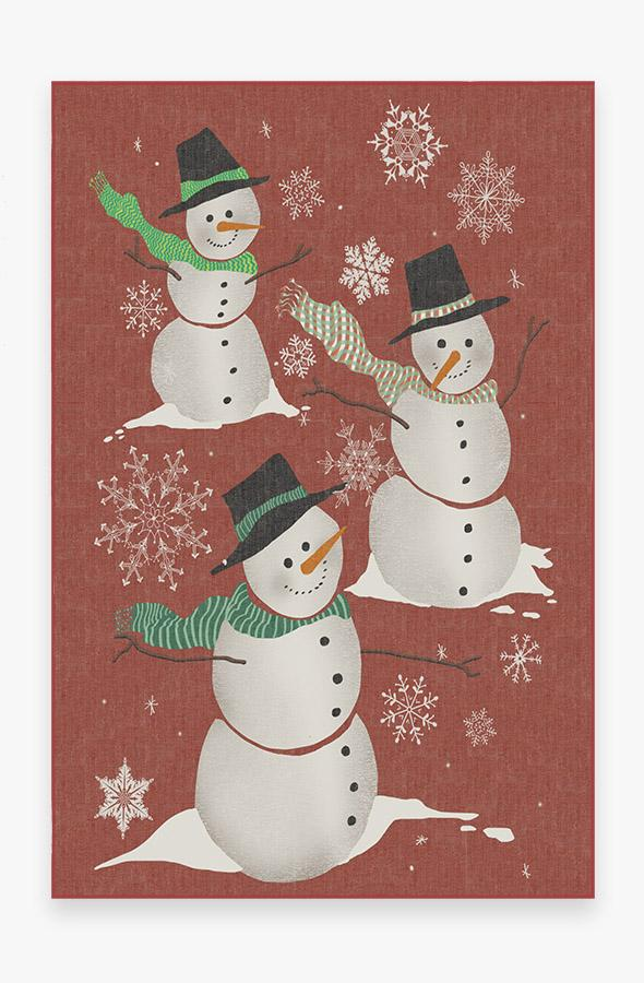 Washable Rug Cover | Snowman Rug | Stain-Resistant | Ruggable | 6'x9'