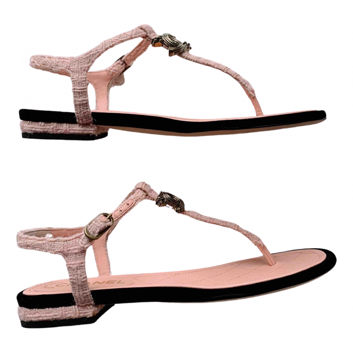 Chanel N Pink Leather Sandals for Women 36.5 EU