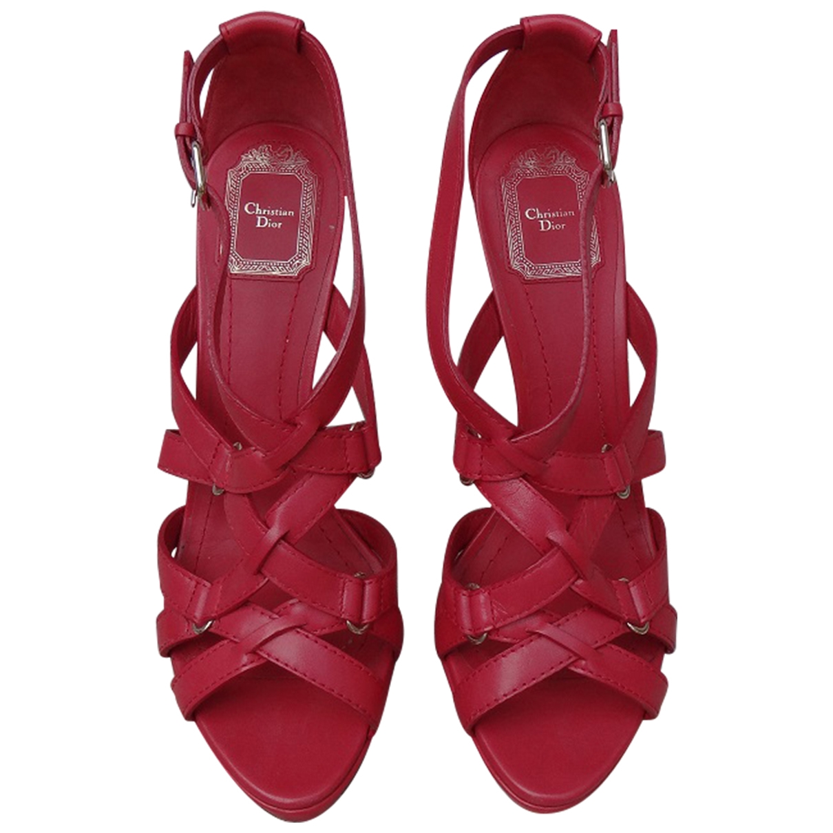 Dior - Sandales   pour femme en cuir - rouge