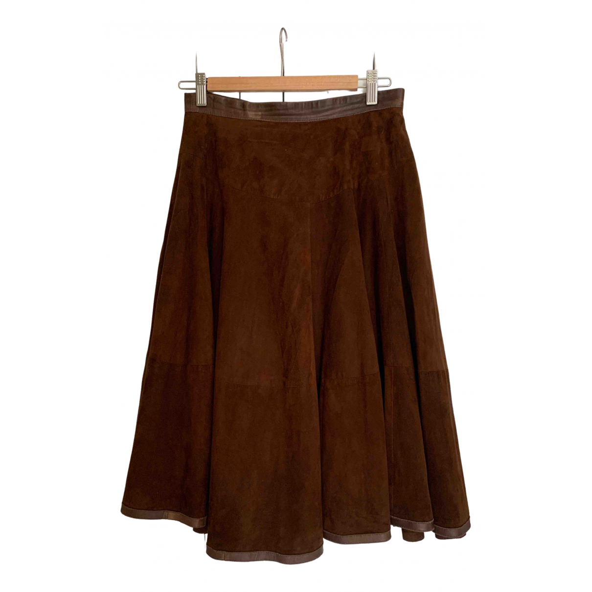 - Jupe   pour femme en cuir - marron