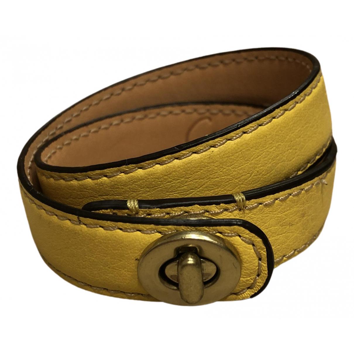 Coach - Bracelet   pour femme en cuir - jaune