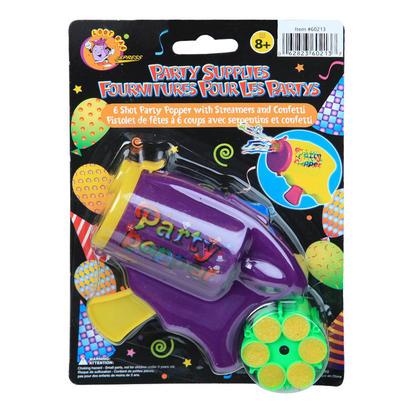 Mini Streamers and Confetti Party Popper with 6 Shots, Random Color