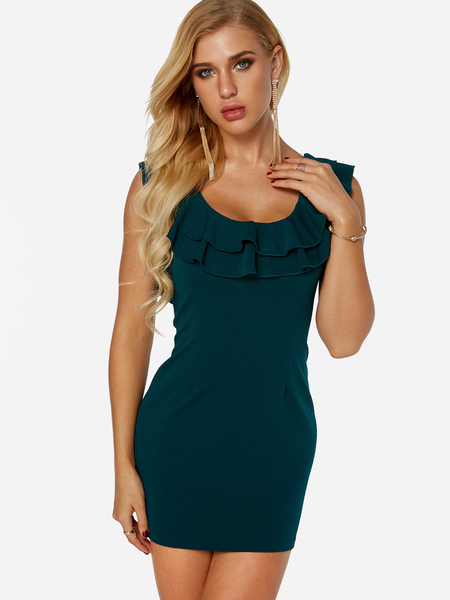 Yoins Green Flounced Details Backless Scoop Neck Sleeveless Bodycon Dress