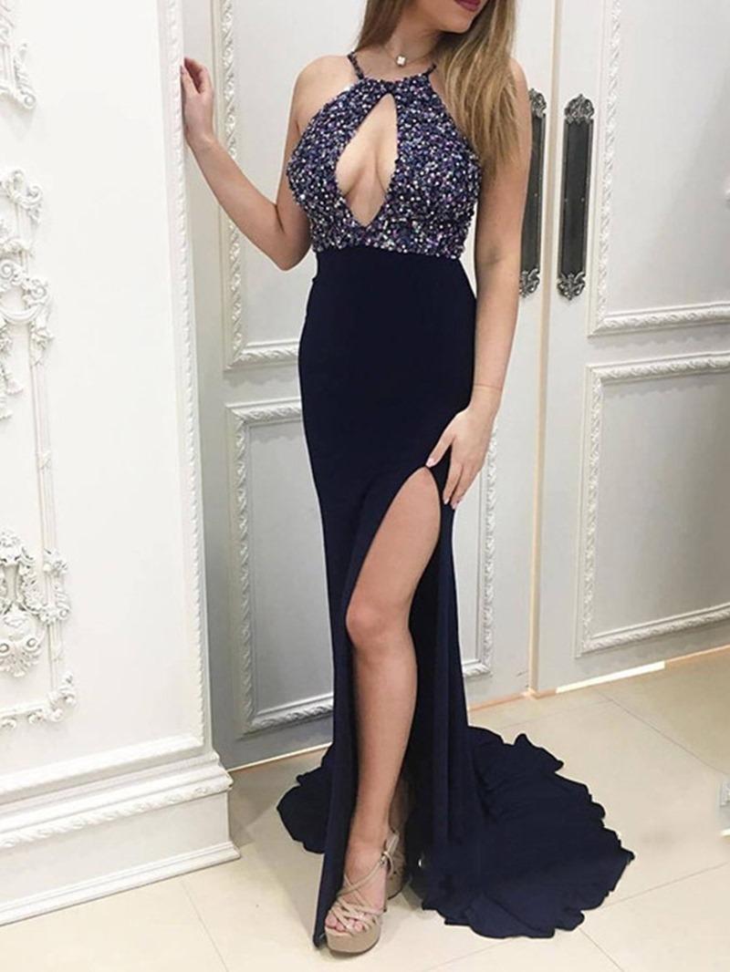 Ericdress Strapless Split-Front Floor-Length Evening Dress