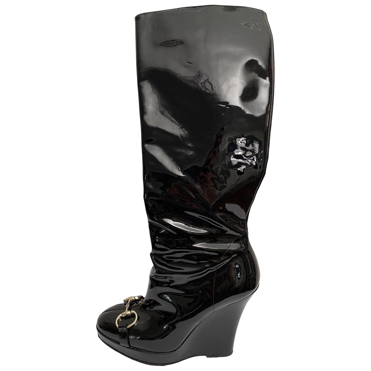 Gucci - Bottes   pour femme en cuir verni - noir