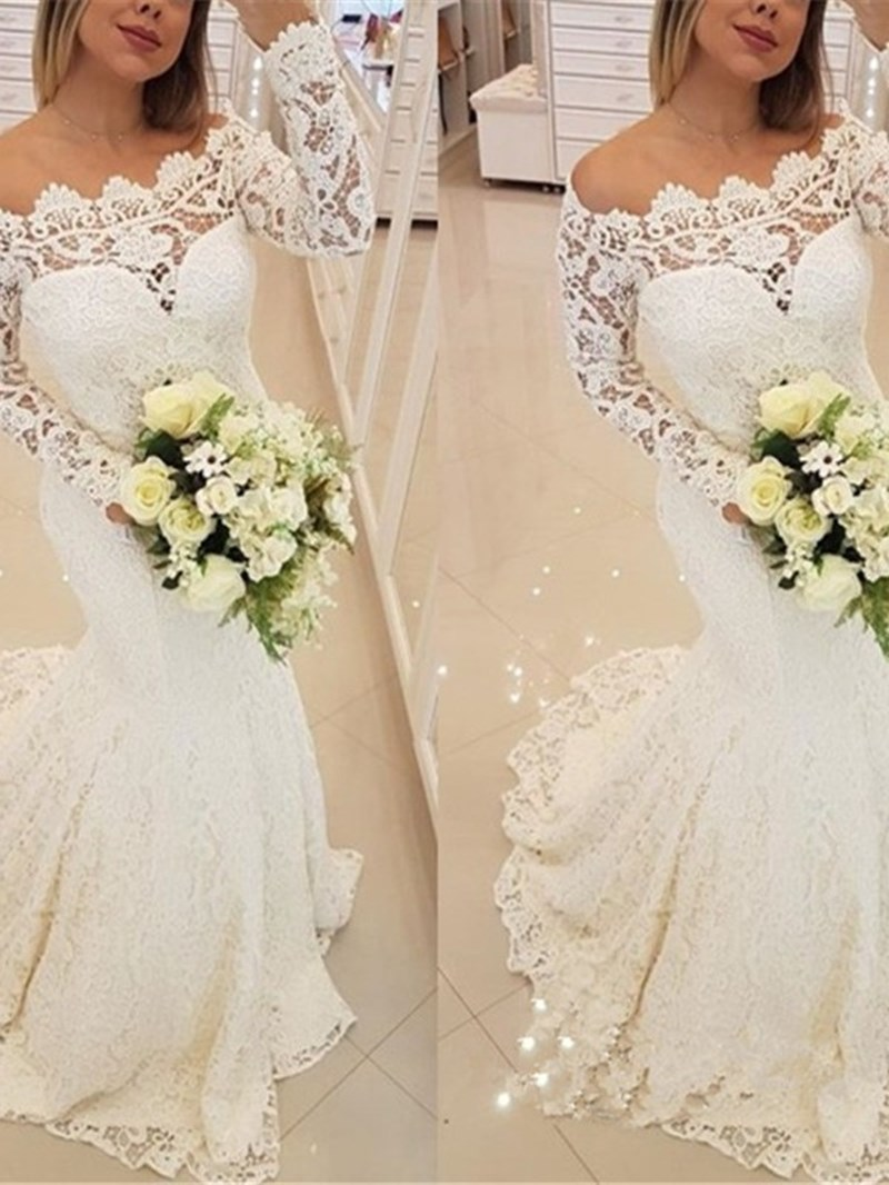 Ericdress Long Sleeve Mermaid Lace Wedding Dress