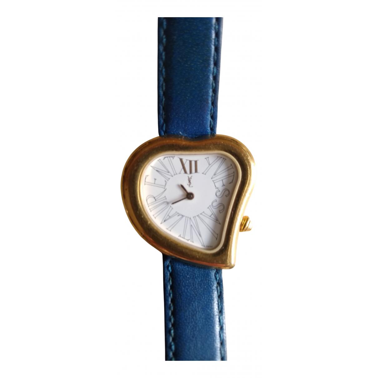Yves Saint Laurent - Montre   pour femme en plaque or - bleu