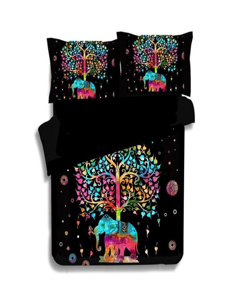 Vivilinen 3D Colorful Elephant and Tree Printed Polyester 3-Piece Black Bedding Sets