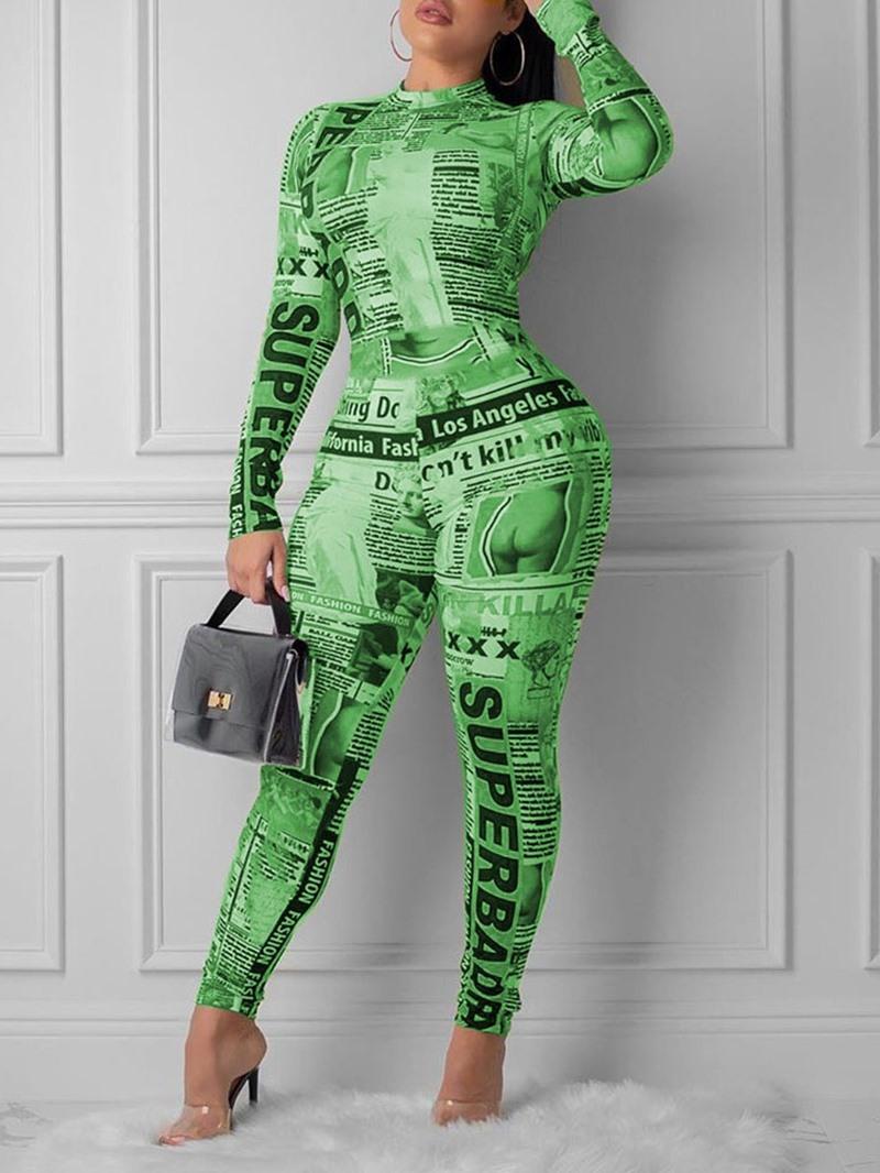 Ericdress Zipper Letter Fashion Full Length Skinny Jumpsuit