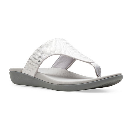 Clarks Womens Brio Vibe Flip-Flops, 8 Medium, White