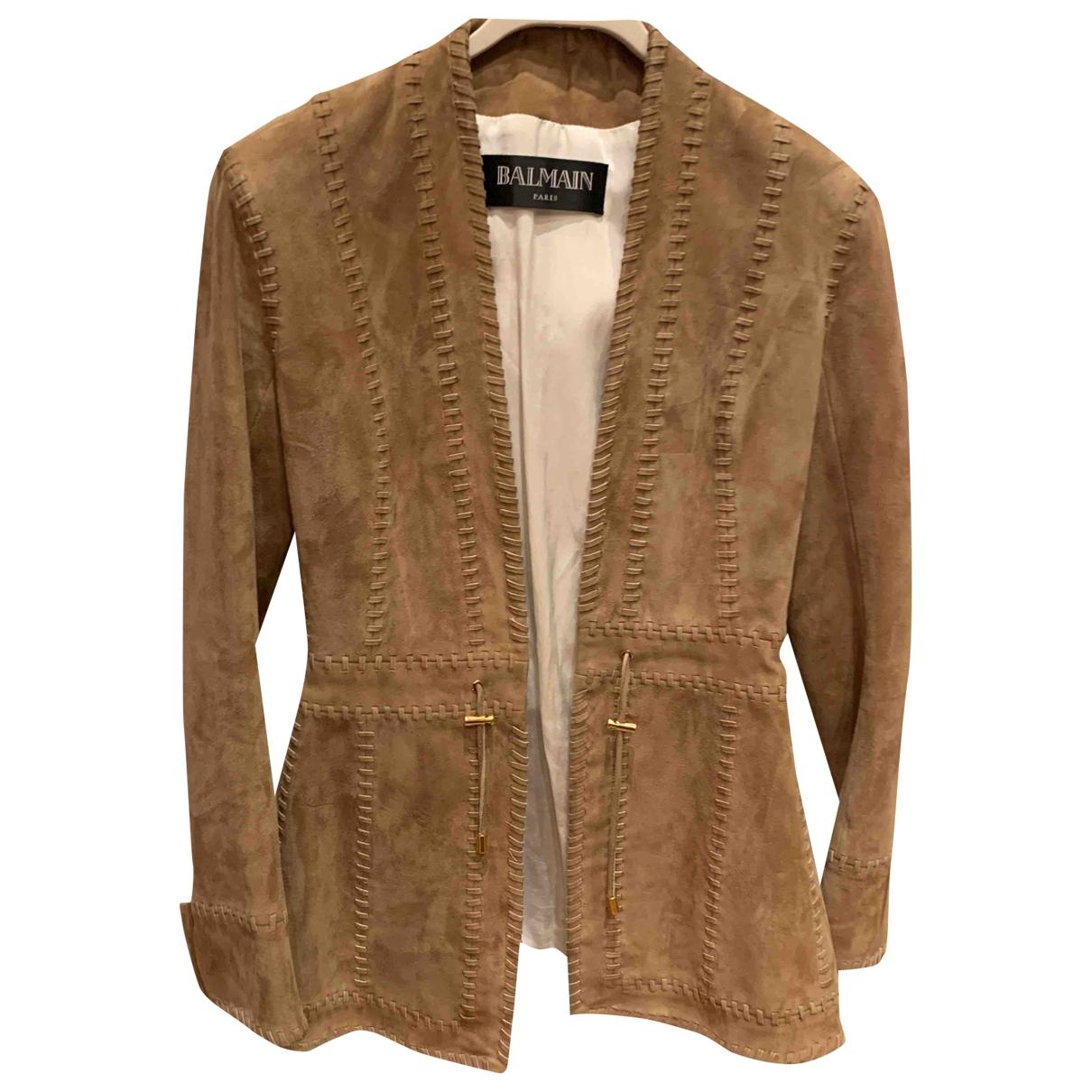 Balmain \N Beige Suede jacket for Women 36 FR