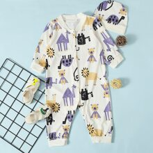 Baby Boy Lion & Camel Print Button Jumpsuit With Hat