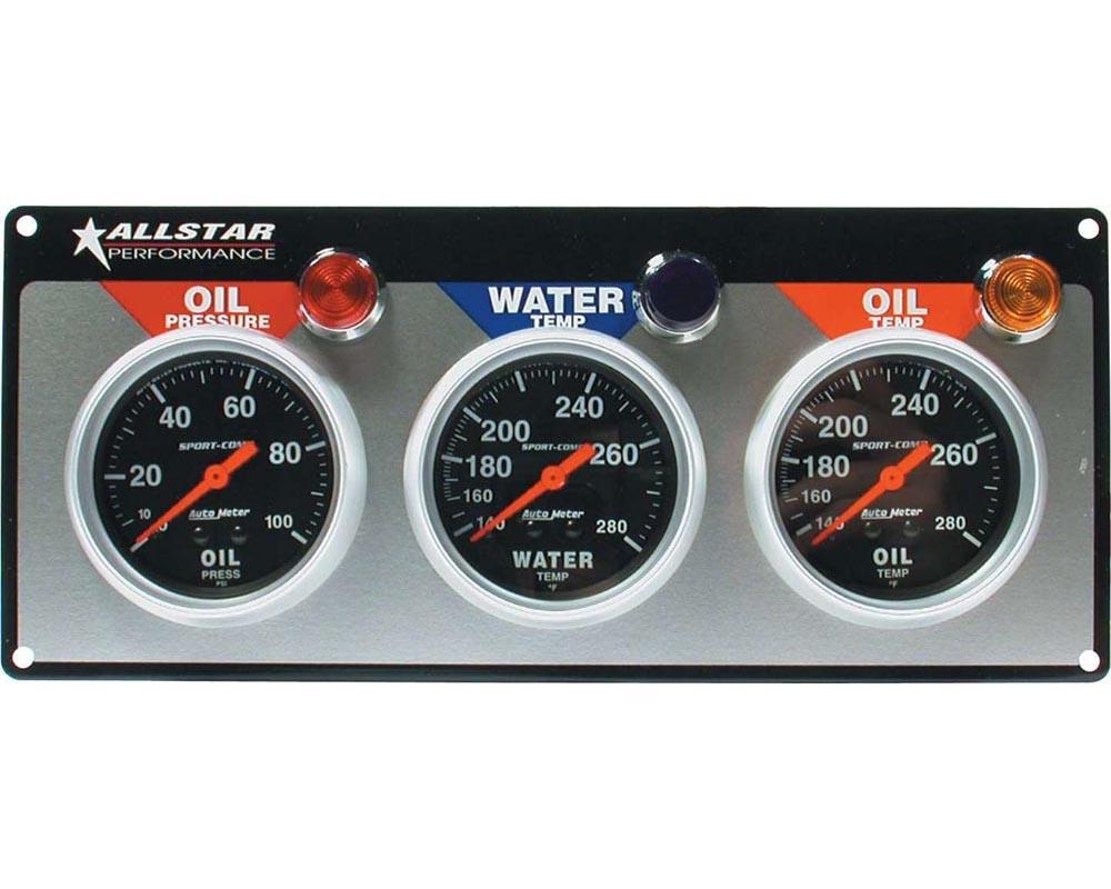 Allstar Performance ALL80112 3 Gauge Panel A/M OP/WT/OT Sport-Comp ALL80112