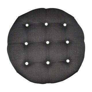 Rose Nine Button Decorative Ottoman (Black)