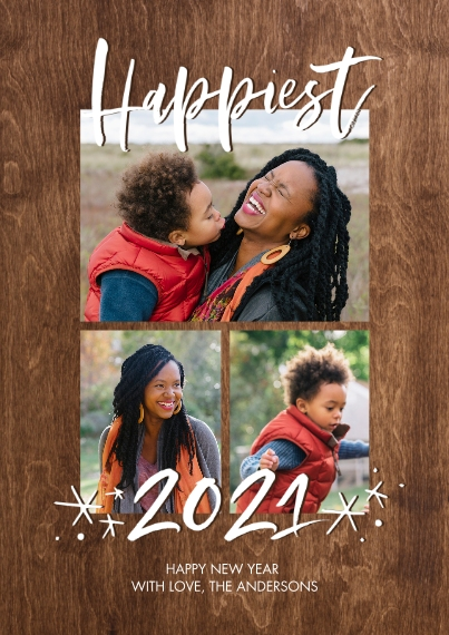 New Year's Photo Cards 5x7 Cards, Premium Cardstock 120lb with Elegant Corners, Card & Stationery -2021 Happiest Stars by Tumbalina
