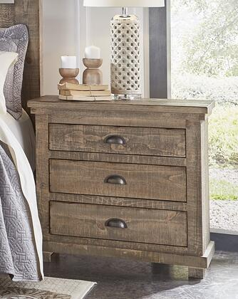 Willow P635-43 Nightstand with Distressed Detailing  Simple Pulls and 3 Drawers  in Weathered