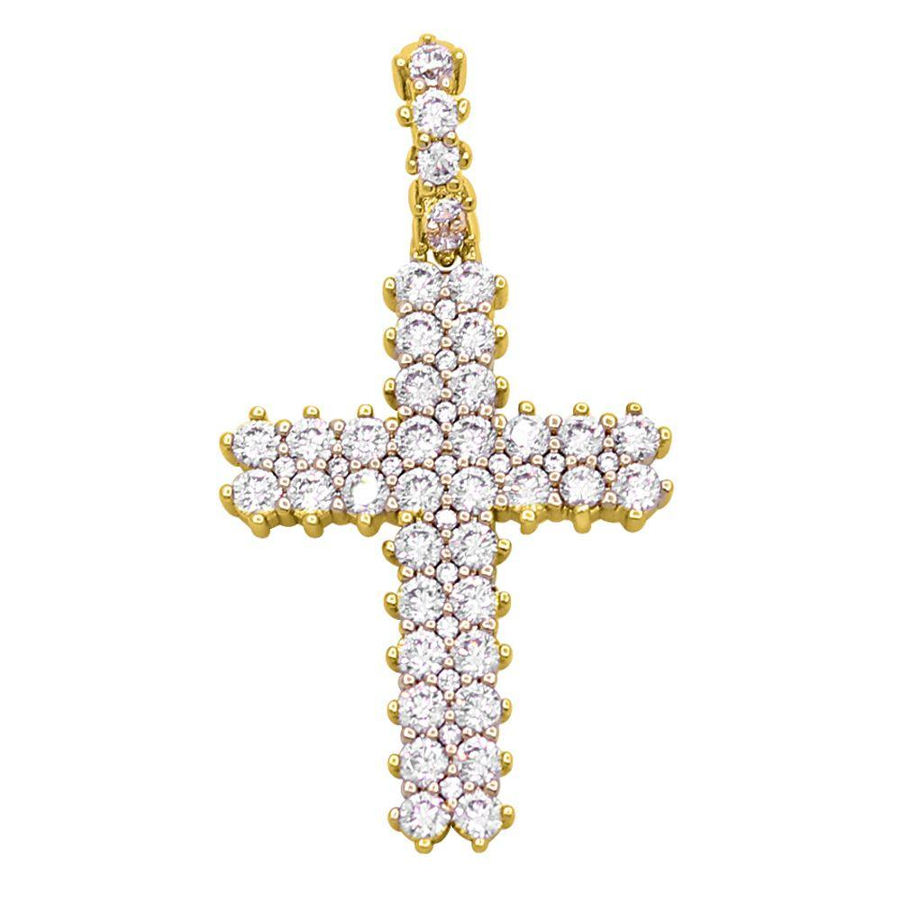 Pave Double Row Cross Hip Hop Bling Bling Pendant