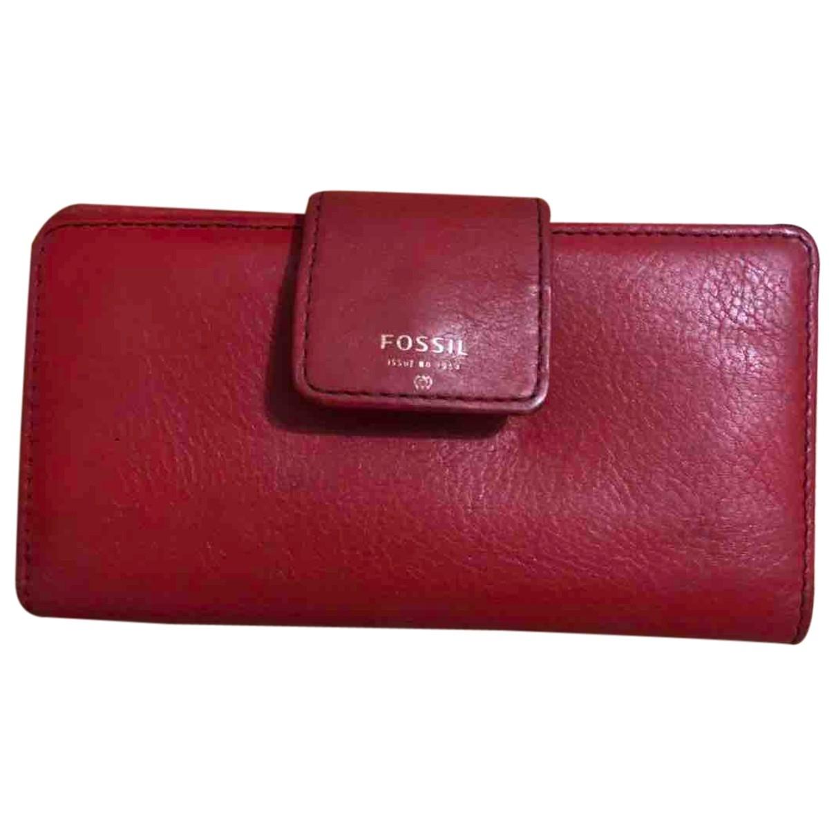 Fossil \N Portemonnaie in  Rot Leder