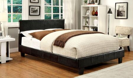 Evans Collection CM7099EX-Q-BED Queen Size Bed with Padded Platform Bed  Tapered Legs  Made of Leatherette  Solid Wood and Others in