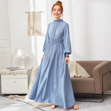 Polka Dot Shirred Panel Lantern Sleeve Dress